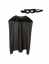 Kit cape et masque super héros noir adulte