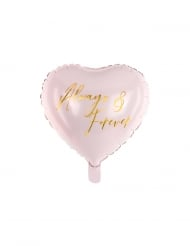 Ballon aluminium cœur always & forever rose et doré 45 cm