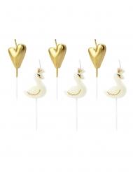 6 Bougies sur pic cygnes et cœurs blancs et dorés 3,5 - 4 cm