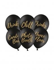 6 Ballons en latex party noirs et dorés 30 cm