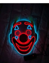 Masque clown fou avec LED adulte