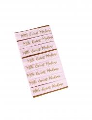 8 Bracelets mlle devient madame rose floqué doré 1,5 x 10 cm