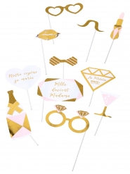 Kit photobooth Mlle devient madame 11 accessoires