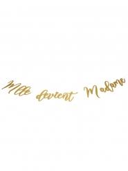 Guirlande en carton Mlle devient Madame dorée 1,20 m