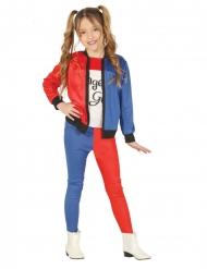Déguisement arlequine rouge et bleu fille