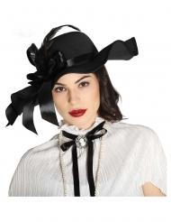 Chapeau noir avec plumes femme