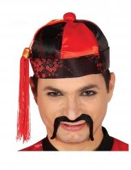 Chapeau mandarin rouge et noir homme