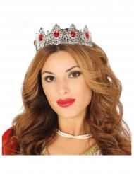 Diadème princesse argenté pierre rouge adulte