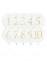 10 Ballons en latex chiffres 1 à 10 blancs et dorés 30 cm