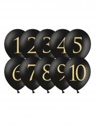 10 Ballons en latex chiffres 1 à 10 noirs et dorés 30 cm