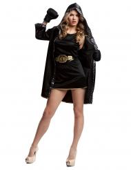 Déguisement boxeuse avec gants noir femme