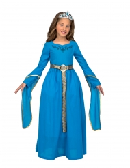 Déguisement avec diadème princesse médiévale bleue fille