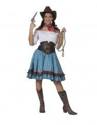 Déguisement cowgirl à carreaux bleus femme