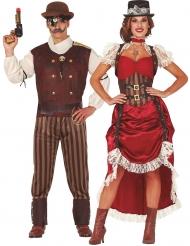 Déguisement de couple steampunk rouge adulte