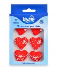 6 Petits cœurs décoratifs en sucre rouges 3 cm