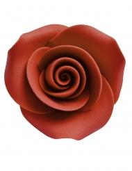 8 Petites roses décoratives en sucre rouges 3,3 cm