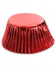 50 Moules à cupcake en papier rouges métallisés 7 cm