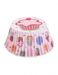 50 Moules à cupcake en papier gâteau roses 7 cm