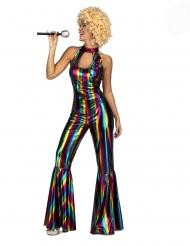 Déguisement combinaison disco rainbow femme