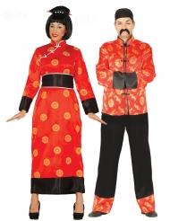 Déguisement de couple chinois rouge adulte
