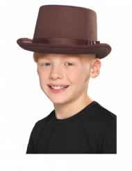 Chapeau rétro haut de forme marron enfant
