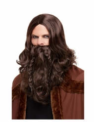Barbe et perruque Viking marron adulte