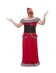 Déguisement femme à barbe rouge homme