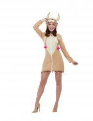 Déguisement robe à capuche lama femme