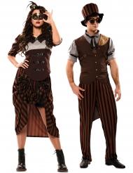 Déguisement de couple steampunk marron adulte