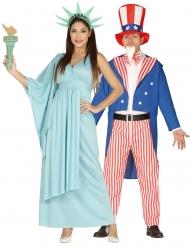 Déguisement de couple statue de la liberté et oncle Sam