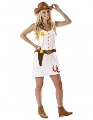 Déguisement cowgirl imprimé blanc femme