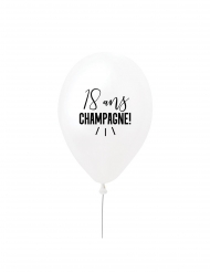 Ballon en latex 18 ans champagne ! blanc et noir 27 cm