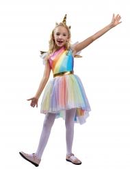 Déguisement licorne multicolore arc en ciel fille