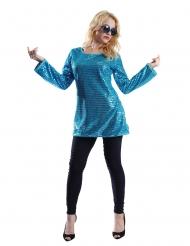 Tunique paillettes turquoise femme