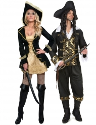Déguisement de couple pirate baroque adulte
