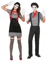 Déguisement de couple mime noir et blanc adulte