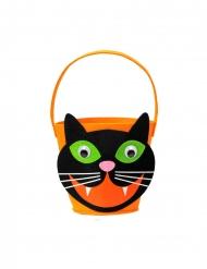 Panier tête de chat noir et orange