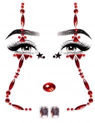 Bijoux pour visage adhésifs clown effrayant