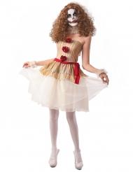 Déguisement clown terrifiant beige femme