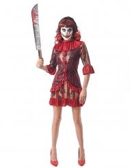 Déguisement clown terrifiant rouge femme