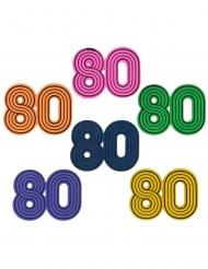 10 Confettis de table en bois années 80 3 x 3 cm
