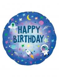 Ballon aluminium holographique Happy Birthday espace