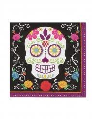 20 Serviettes en papier squelette coloré 17 x 17 cm