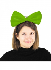 Serre-tête gros nœud vert fluo adulte