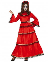 Déguisement mexicaine rouge Dia de los muertos femme