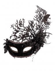 Masque noir avec fleurs femme