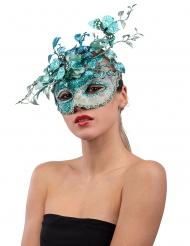 Masque bleuté avec papillon et branchage femme