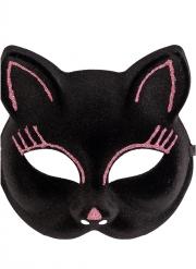 Masque chat avec paillettes roses adulte