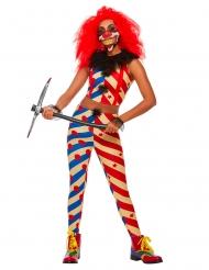 Déguisement creepy clown bicolore femme