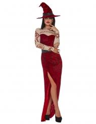 Déguisement sorcière rouge satanique femme